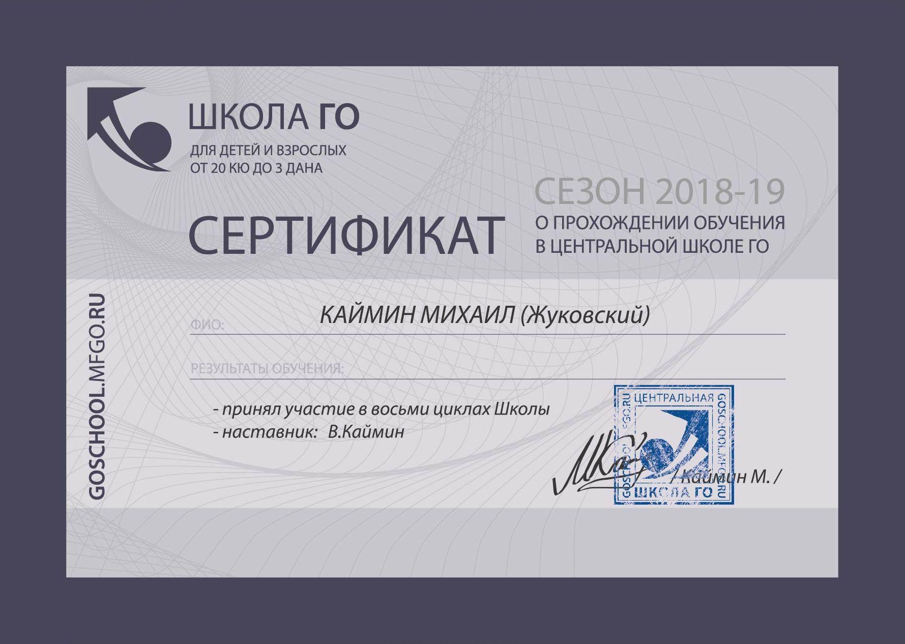 Сертификаты по итогам учебного года